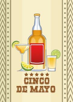 Celebração de cinco de maio com bebidas de tequila