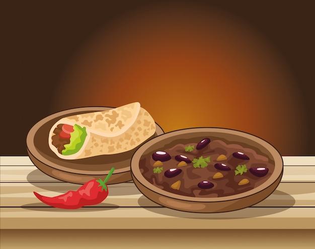 Celebração de cinco de maio com comida deliciosa na ilustração da tabela