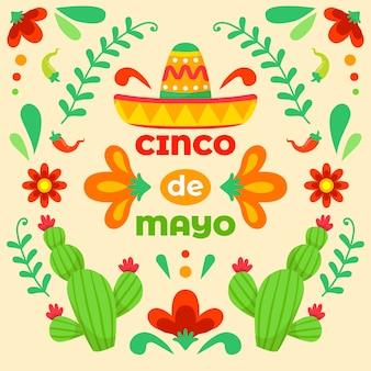 Celebração de cinco de maio desenhados à mão