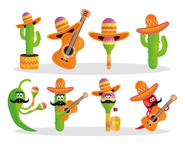 Celebração de cinco de mayo com um grupo de personagens