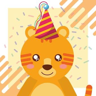 Celebração de confetes de chapéu de festa tigre bonito