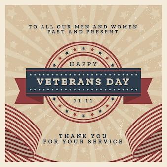 Celebração de design vintage do dia dos veteranos