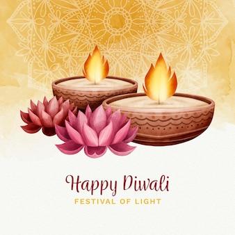 Celebração de diyas diwali em aquarela