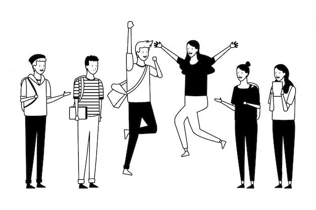 Celebração de estudantes de grupo de pessoas