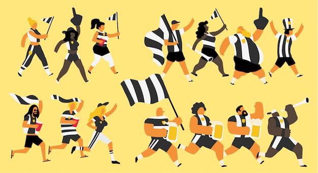 Celebração de fãs de equipe preto e branco