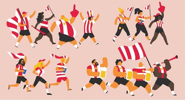 Celebração de fãs de equipe vermelho e branco