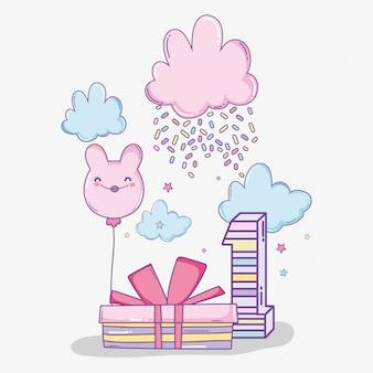 Celebração de feliz aniversário com algodão doce e presente