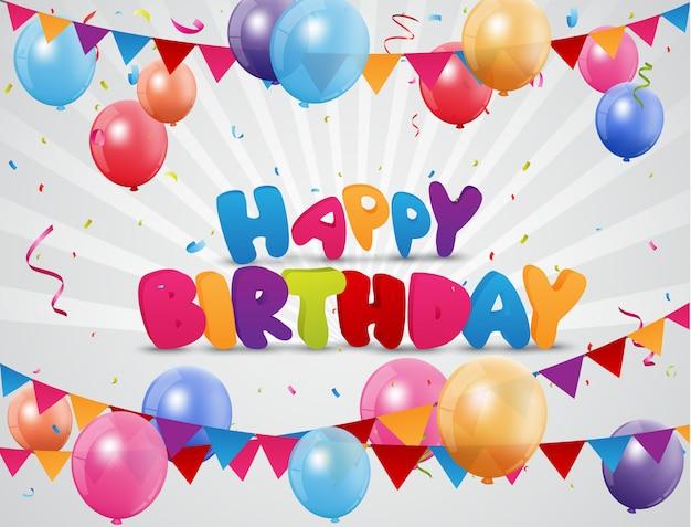Celebração de feliz aniversário com balão colorido e confetes