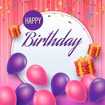 Celebração de feliz aniversário com balões e caixas de presente.