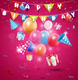 Celebração de feliz aniversário com confete e fita