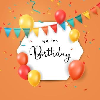 Celebração de feliz aniversário com desenho decorativo. ilustração vetorial de balões coloridos Vetor Premium