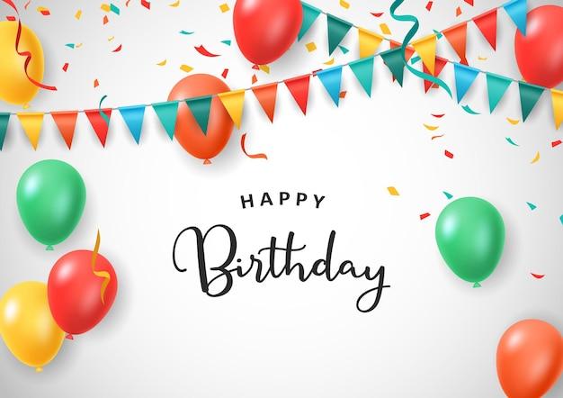 Celebração de feliz aniversário com desenho decorativo isolado fundo branco balões coloridos ilustração vetorial