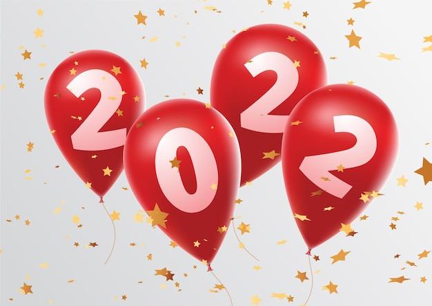 Celebração de feliz ano novo 2022 balões vermelhos brilhantes figuram balões de ano novo com estrelas brilhantes