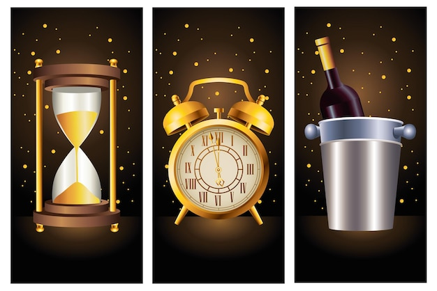 Celebração de feliz ano novo com ilustração de ícones dourados de champanhe e tempo