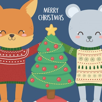 Celebração de feliz natal fofo raposa e coelho com decoração de camisola e árvore