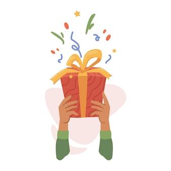 Celebração de feriados e clima festivo dando presentes para eventos especiais de mãos dadas isoladas