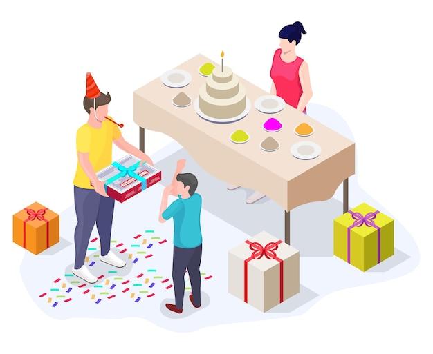 Celebração de festa de aniversário com presentes e bolo, ilustração isométrica vetorial plana.