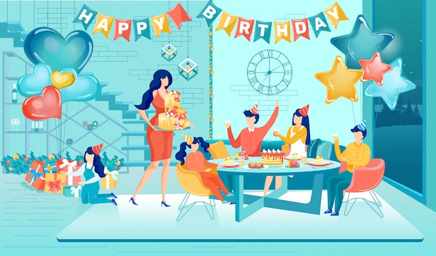 Celebração de festa de aniversário de crianças felizes com amigos