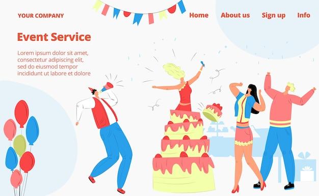 Celebração de festa de aniversário, pessoas com amigos, página de destino do serviço de eventos,