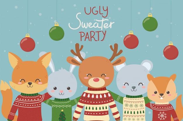Celebração de festa de camisola feia de animais fofos