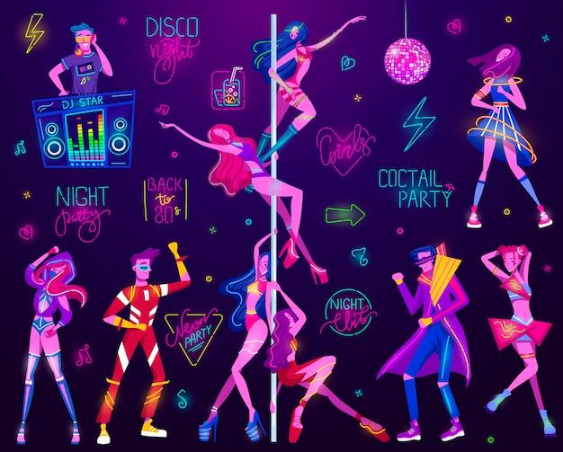 Celebração de festa de néon na boate, sinais de néon, tabuleta de luzes da noite moderna tendência com pessoas, ilustração de publicidade.