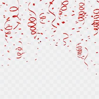 Celebração de fundo confete vermelho