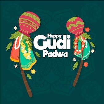 Celebração de gudi padwa desenhados à mão