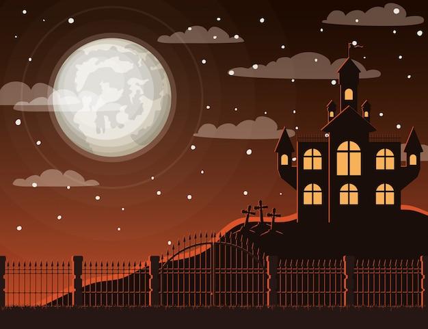 Celebração de halloween com cena de cemitério e castelo