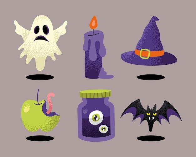Celebração de halloween com seis ícones