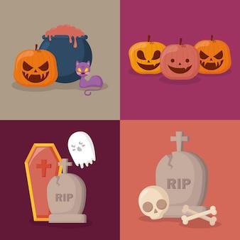 Celebração de halloween conjunto de ícones