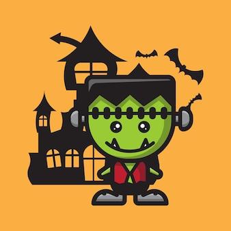 Celebração de halloween fofinho do personagem frankenstein