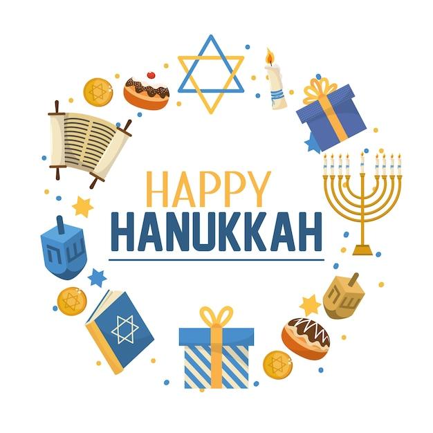 Celebração de hanukkah com estrela de david e livro