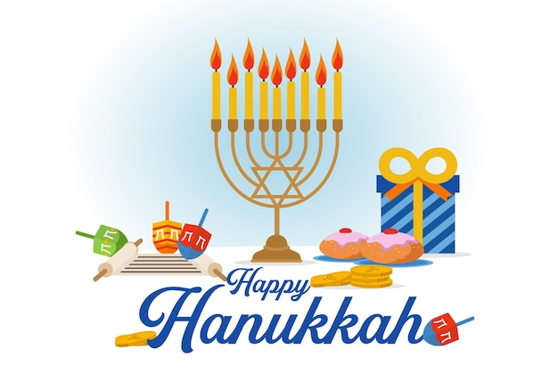 Celebração de hanukkah com velas e presente Vetor Premium