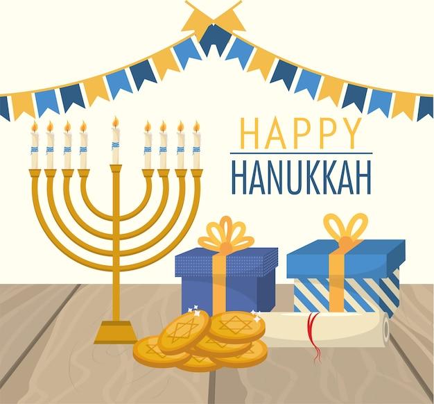 Celebração de hanukkah feliz com bandeiras de festa