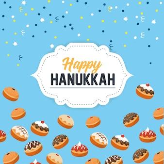 Celebração de hanukkah feliz com pães doces