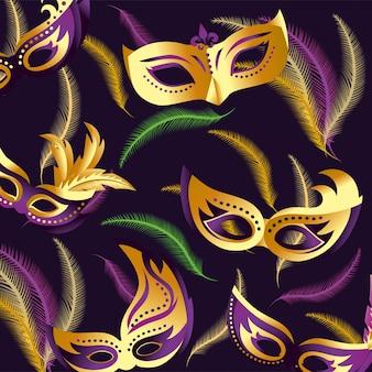 Celebração de merdi gras com fundo de máscaras
