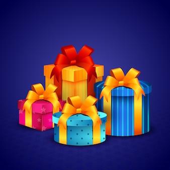 Celebração de natal com presentes coloridos