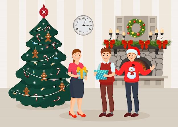 Celebração de natal e ano novo com presentes na família feliz