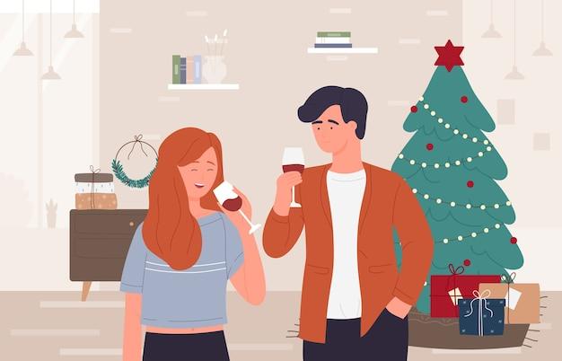 Celebração de natal e feliz ano novo em casa