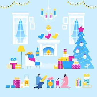 Celebração de natal em família, interior da sala de natal com pais e filhos,