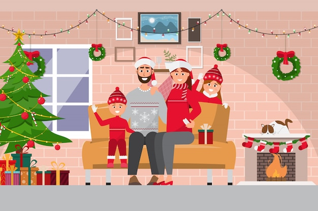 Celebração de natal em família no interior da sala com casal