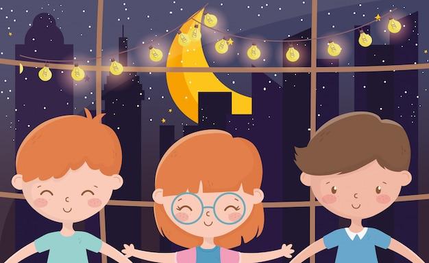 Celebração de natal feliz sorrindo crianças janela noite luzes lua