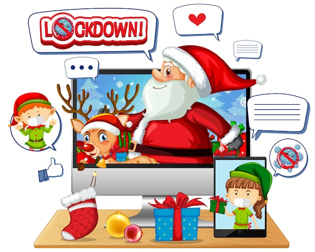 Celebração de natal online por meio de dispositivo móvel