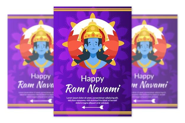Celebração de navami de ram de design plano