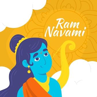 Celebração de navami ram desenhado à mão