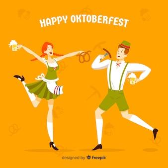Celebração de oktoberfest de pessoas dos desenhos animados