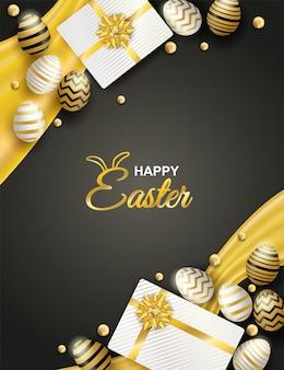 Celebração de páscoa feliz. ovo da páscoa e caixa de presente dourados e brancos em fundo preto.