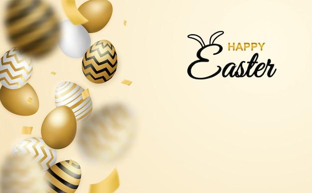 Celebração de páscoa feliz. ovo de páscoa dourado, branco sobre fundo macio.