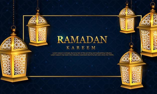 Celebração de ramadan kareem com lâmpada de mão desenhada sobre fundo escuro de textura.