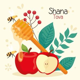 Celebração de rosh hashaná, ano novo judaico, com decoração de maçãs
